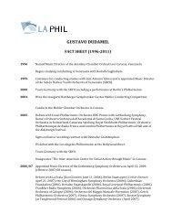 Gustavo Dudamel Fact Sheet - Los Angeles Philharmonic