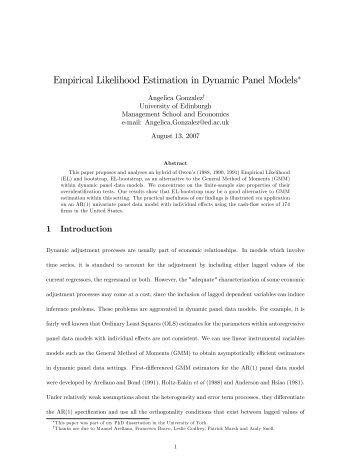 Empirical Likelihood Estimation in Dynamic Panel Models - Economics