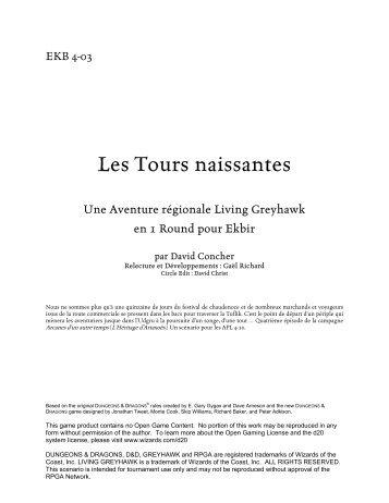 Les Tours Naissantes (EKB4-03) - Le Monde de Greyhawk