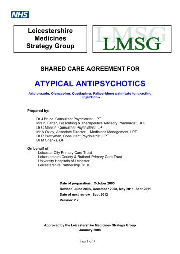 Atypical antipsychotic - Leicestershire Medicines Strategy Group