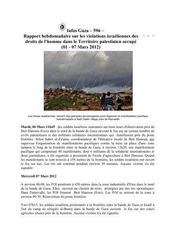 Rapport hebdomadaire sur les violations israéliennes des droits de l ...