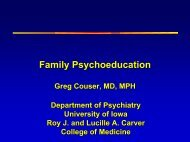 Family Psychoeducation - University of Iowa Carver College of ...