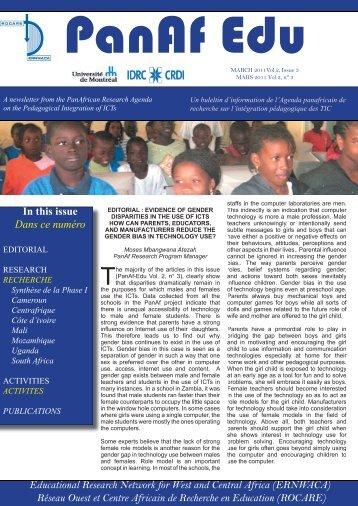 Newsletter / Bulletin d'information PanAf Edu vol. 2, n°3 - ERNWACA