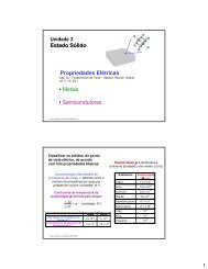Estado Sólido – Propriedades Elétricas - Instituto de Física - UFRGS
