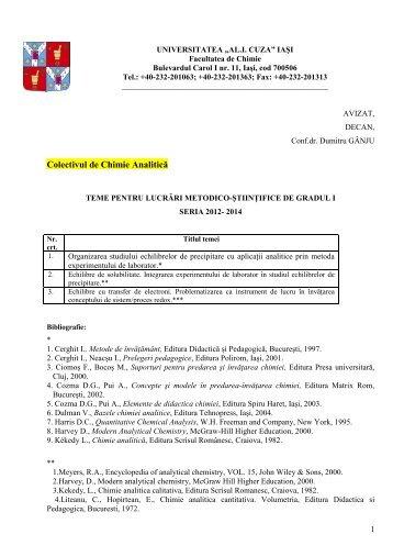 centralizare teme gradul I 2012-2014- site - Facultatea de Chimie