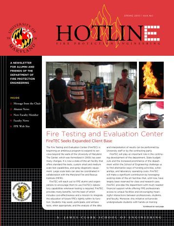 news on - University of Maryland fire protection engineering program.