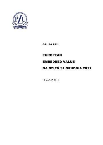 EUROPEAN EMBEDDED VALUE NA DZIEŃ 31 GRUDNIA 2011