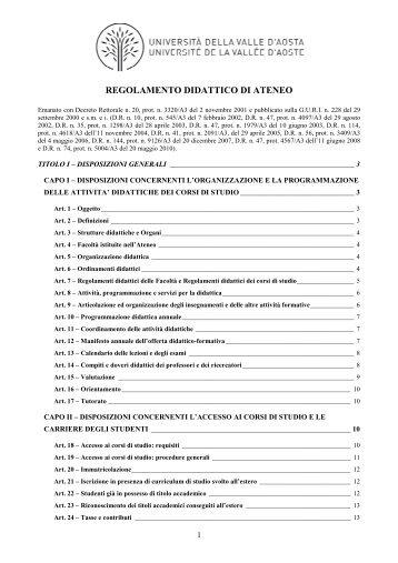 RDA - titolo I - indice mod 2010 - Università della Valle d'Aosta