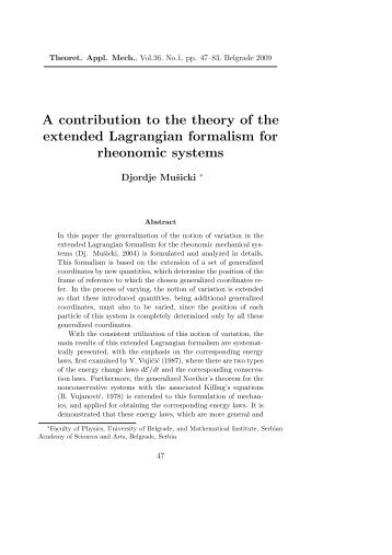 A contribution to the theory of the extended Lagrangian ... - doiSerbia