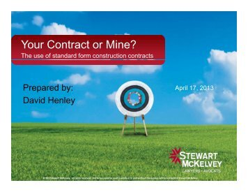 Your Contract or Mine? The Use of Standard ... - Stewart McKelvey