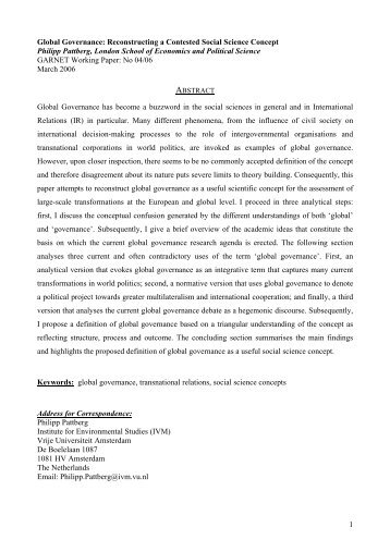 1 Global Governance: Reconstructing a Contested Social Science ...