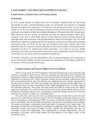 Land Market and Urban Development in Russia - Regional Studies ...