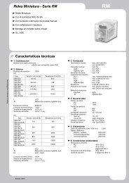 Reles Miniatura - Serie RM Características técnicas