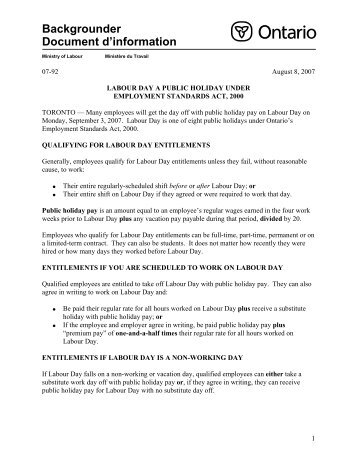 Labour Day A Public Holiday Under Employment Standards Act, 2000