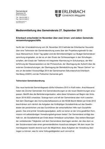 Medienmitteilung des Gemeinderats 27. September 2013