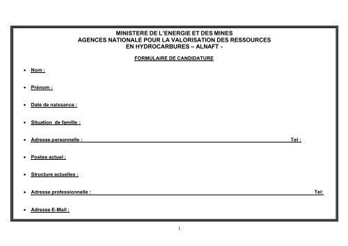 formulaires candidatures - Ministère de l'énergie et des mines