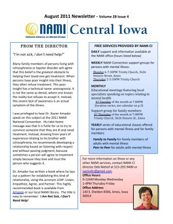 August 2011 Newsletter - Volume 28 Issue 4 - NAMI Central Iowa