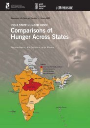 Comparisons of Hunger Across States - Don Bosco Mission