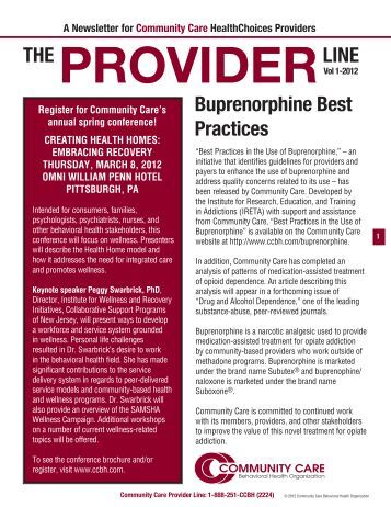 Provider Newsletter January 2012 - Community Care Behavioral ...