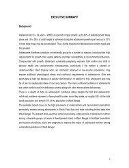 Executive Summary Status of Adolescent Nutrition - IPHA