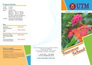 Universiti Teknologi Malaysia Summer School Program - UTM SPACE
