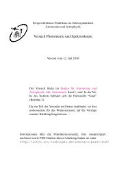 Astrophysikalisches Praktikum fuer Fortgeschrittene: Photometrie ...