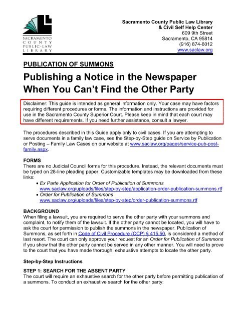 Publication of Summons - Sacramento County Public Law Library