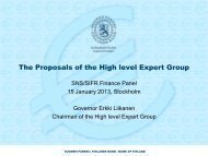 The Proposals of the High level Expert Group - SNS