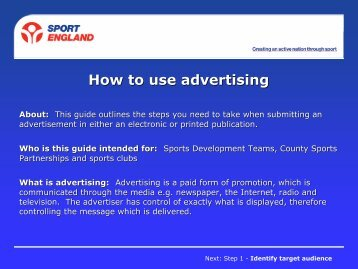 Sport England Guide - How to Create and Advert - VicSport