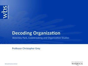 Download Chris's PDF slides - Warwick Business School