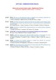 AFEF 2009 : COMMUNICATIONS ORALES Séance de ...