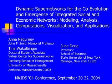 Dynamic Supernetworks for the Co-Evolution and Emergence of ...