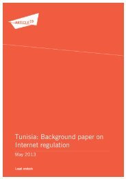 Tunisia: Background paper on Internet regulation - Article 19