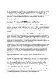 GTprofessor engelsk - Det teologiske Menighetsfakultetet