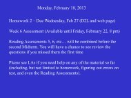 Monday, February 18, 2013 Homework 2 – Due Wednesday, Feb 27 ...