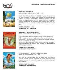 FILMS POUR ENFANTS 2009 / 2010