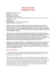 Flash of Genius Production Notes - Visual Hollywood
