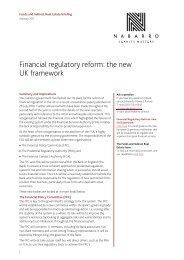 Financial regulatory reform: the new UK framework - Nabarro