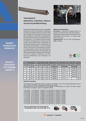 Thermojacket S : Geflochtener E-Glasfaser Schlauch mit ... - Anamet