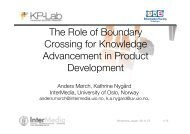 The Role of Boundary Crossing for Knowledge Advancement in ...