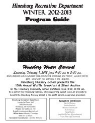 Winter Recreation Guide for 2012-2013 - The Town of Hinesburg
