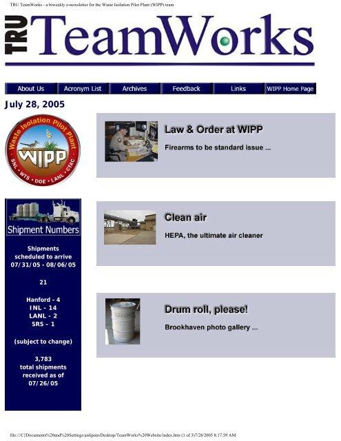 July 28 - Waste Isolation Pilot Plant