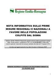 nota informativa sulle prime misure regionali e nazionali a favore ...