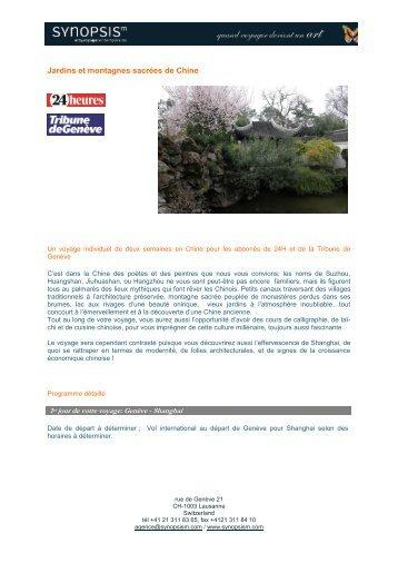 Jardins et montagnes sacrées de Chine - Synopsism