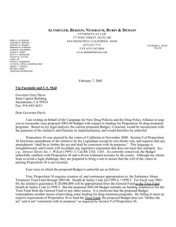 Joint Letter to Gov. Davis, Senate Pres. Burton, Speaker Wesson ...