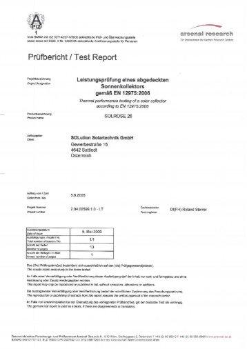 Prüfbericht l Test Report - Solution Solartechnik GmbH