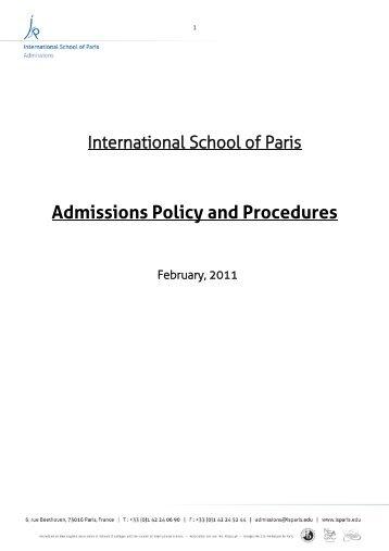ISP Admissions Policy - International School of Paris