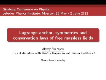Lagrange anchor, symmetries and conservation laws of free ...