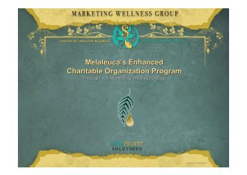 Melaleuca's Enhanced Charitable Organization Program