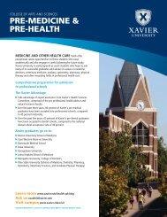 PRE-MEDICINE & PRE-HEALTH - Xavier University